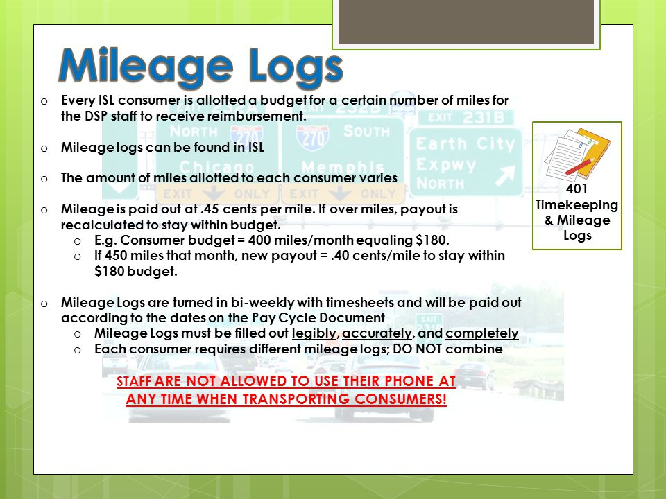 Mileage Logs ANY TIME WHEN TRANSPORTING CONSUMERS!