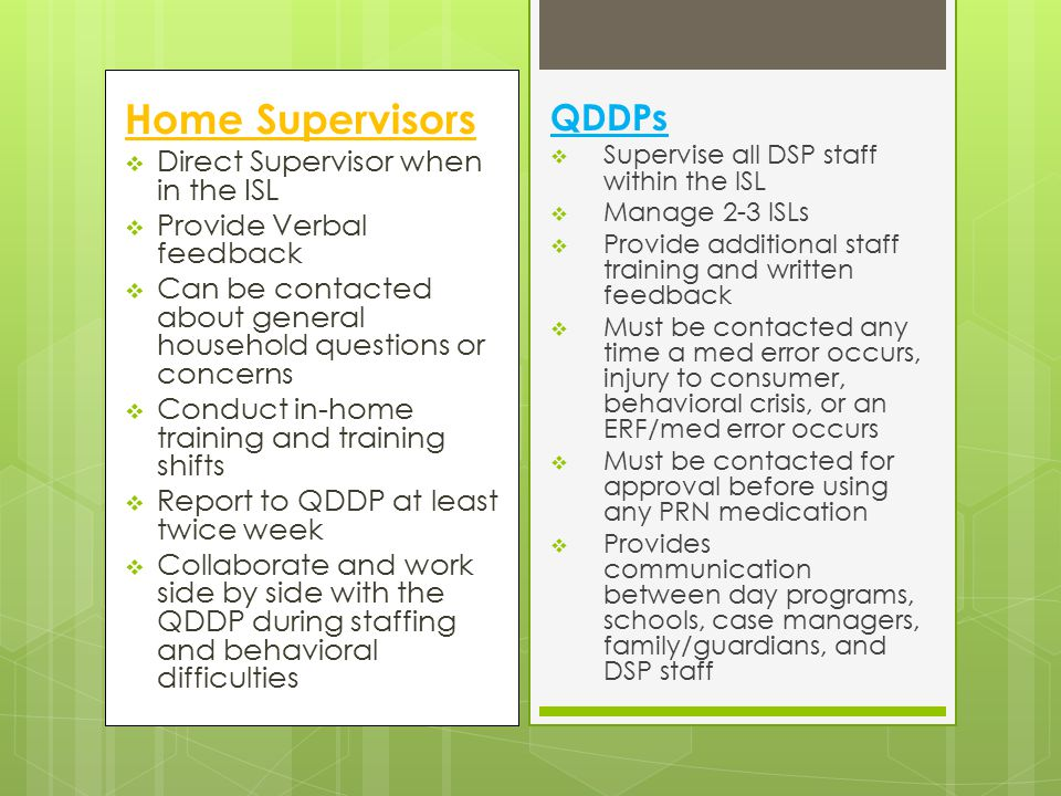 Home Supervisors QDDPs Direct Supervisor when in the ISL