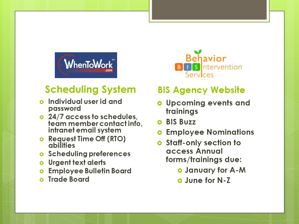 Scheduling System BIS Agency Website Upcoming events and trainings