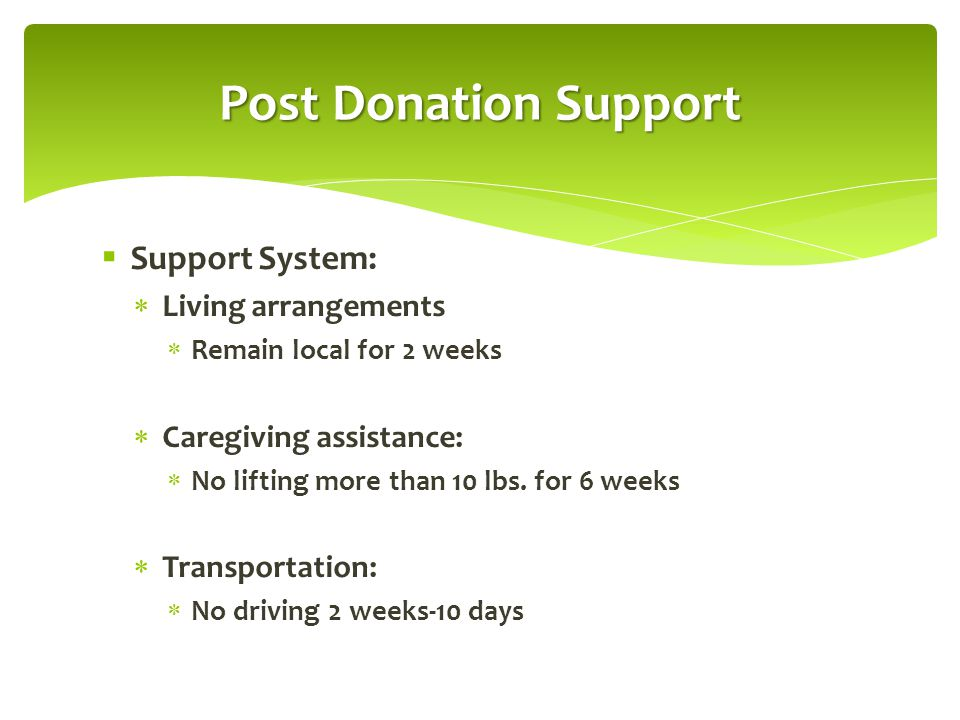 Post Donation Support Support System: Living arrangements