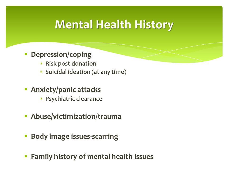 Mental Health History Depression/coping Anxiety/panic attacks