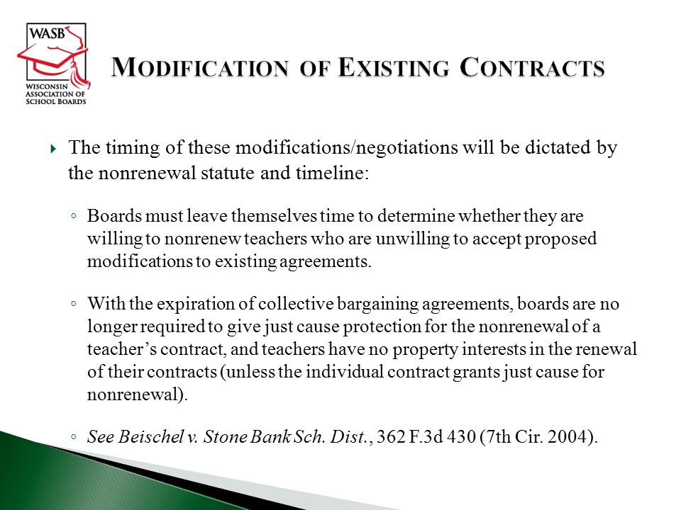 Modification of Existing Contracts