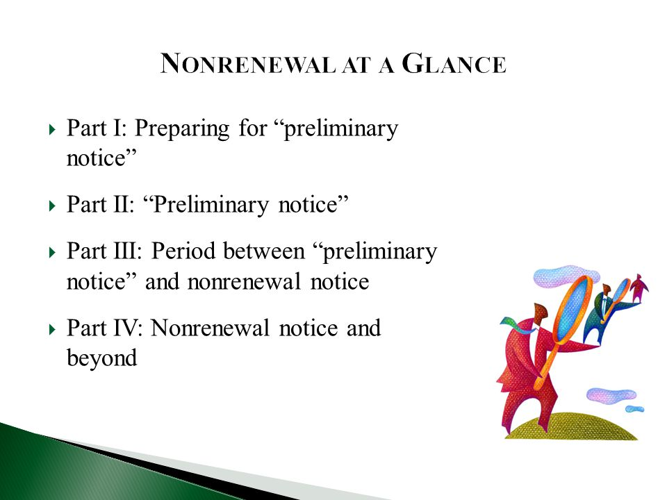 Nonrenewal at a Glance Part I: Preparing for preliminary notice