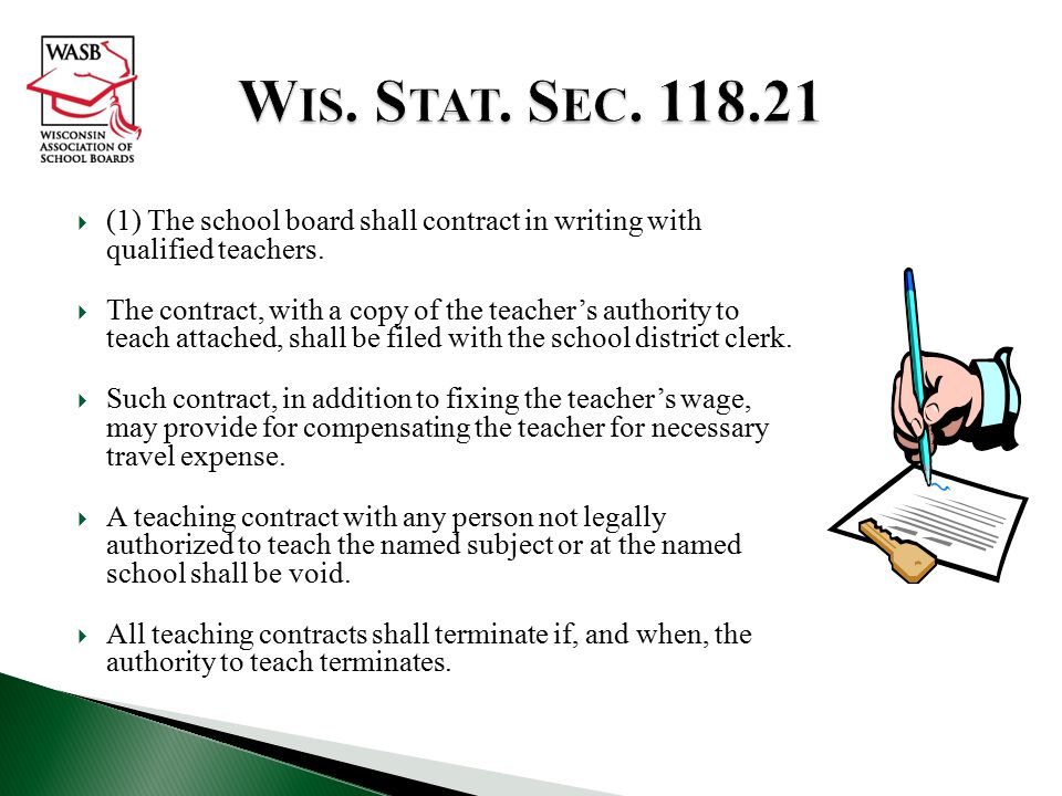 Wis. Stat. Sec. 118.21 (1) The school board shall contract in writing with qualified teachers.