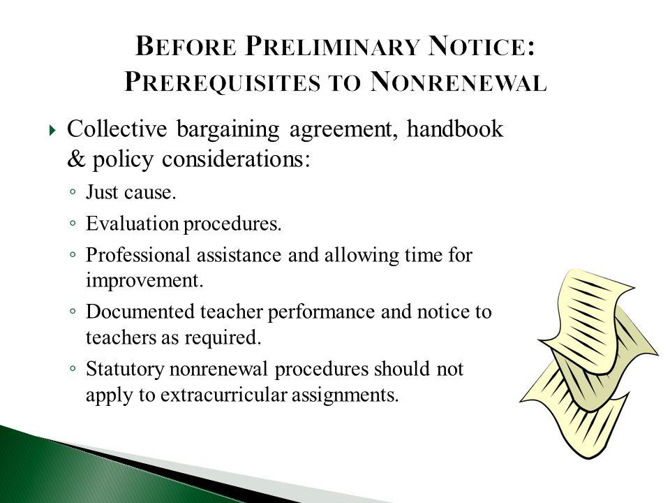 Before Preliminary Notice: Prerequisites to Nonrenewal