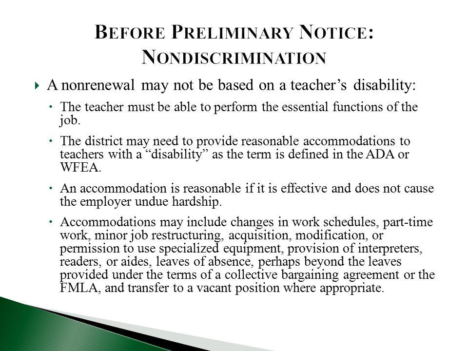 Before Preliminary Notice: Nondiscrimination