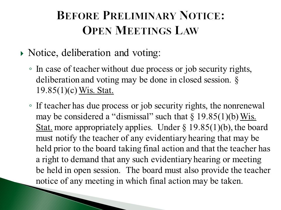 Before Preliminary Notice: Open Meetings Law