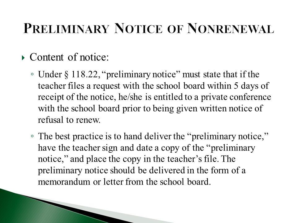 Preliminary Notice of Nonrenewal