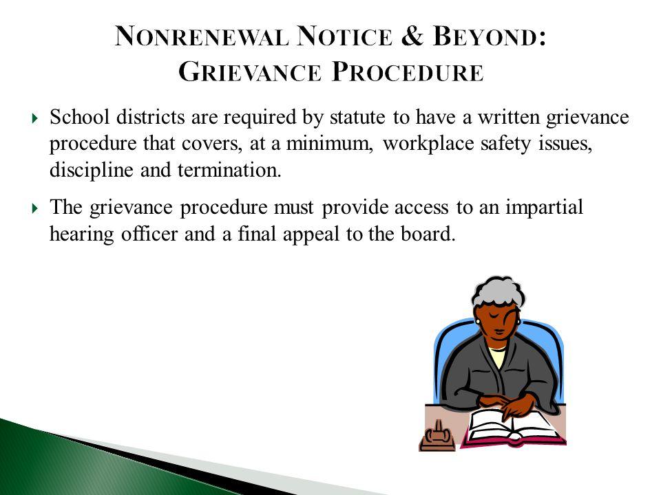 Nonrenewal Notice & Beyond: Grievance Procedure