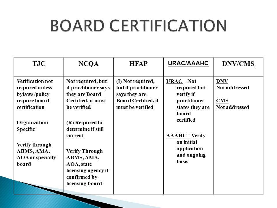 BOARD CERTIFICATION TJC NCQA HFAP DNV/CMS URAC/AAAHC