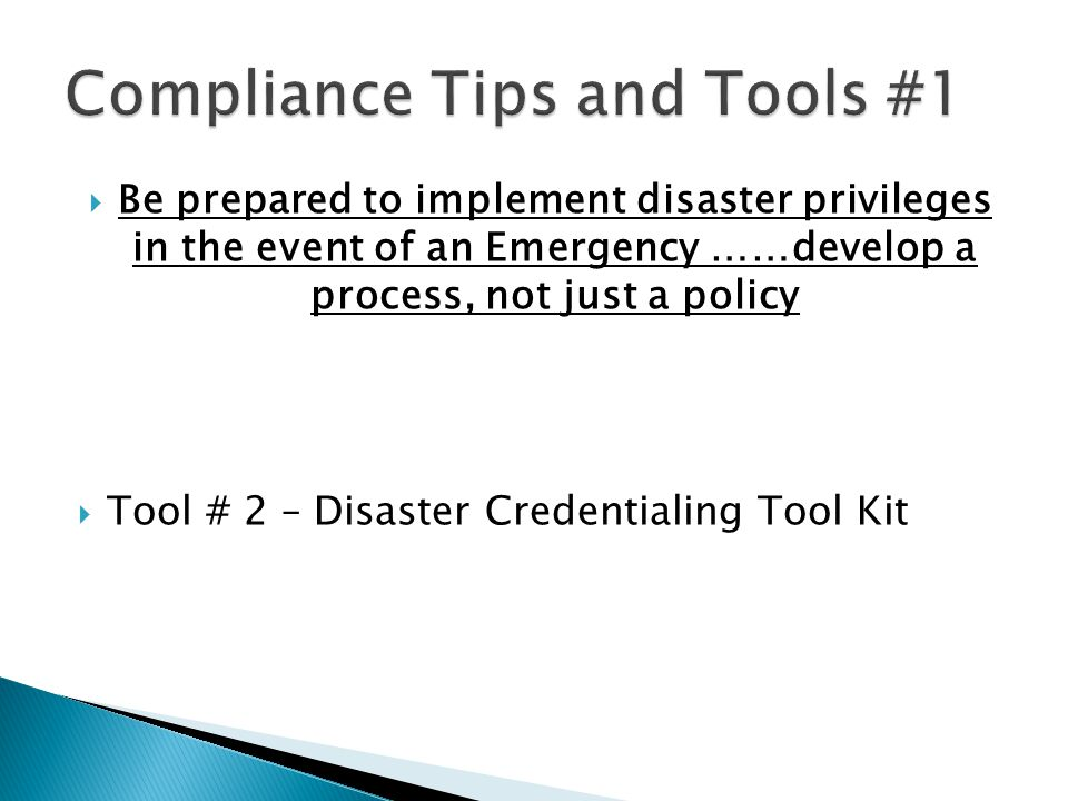 Compliance Tips and Tools #1