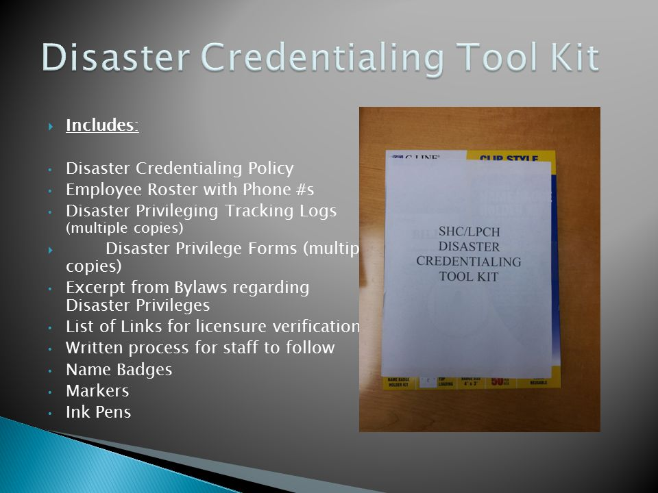 Disaster Credentialing Tool Kit