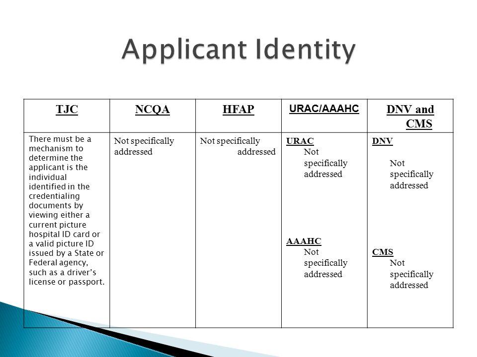 Applicant Identity TJC NCQA HFAP DNV and CMS URAC/AAAHC