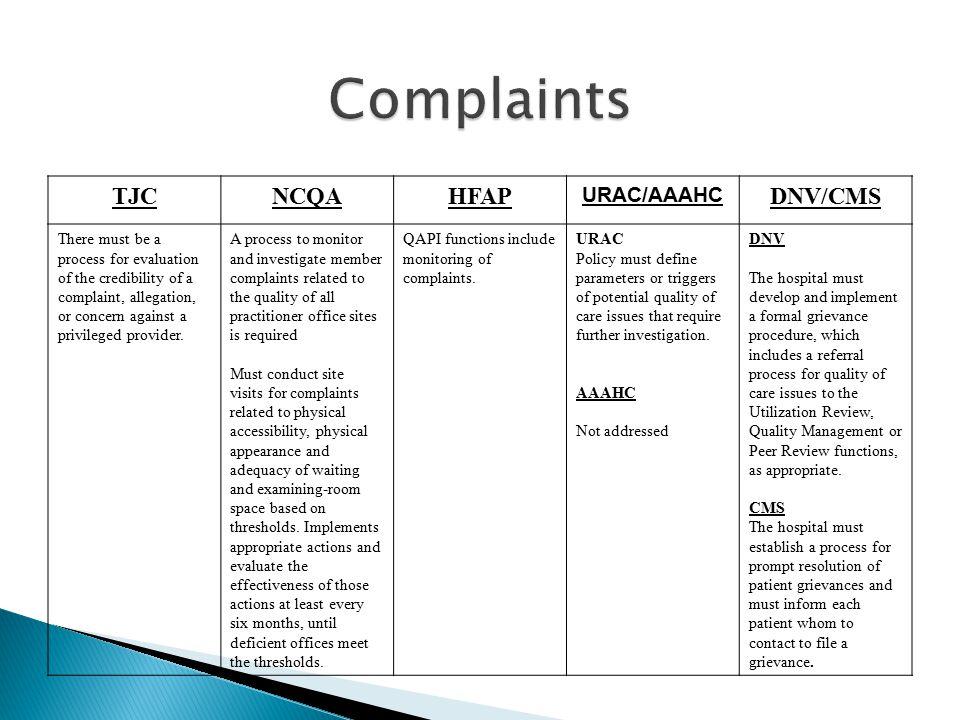 Complaints TJC NCQA HFAP DNV/CMS URAC/AAAHC