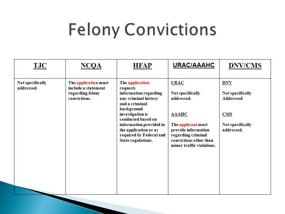 Felony Convictions TJC NCQA HFAP DNV/CMS URAC/AAAHC