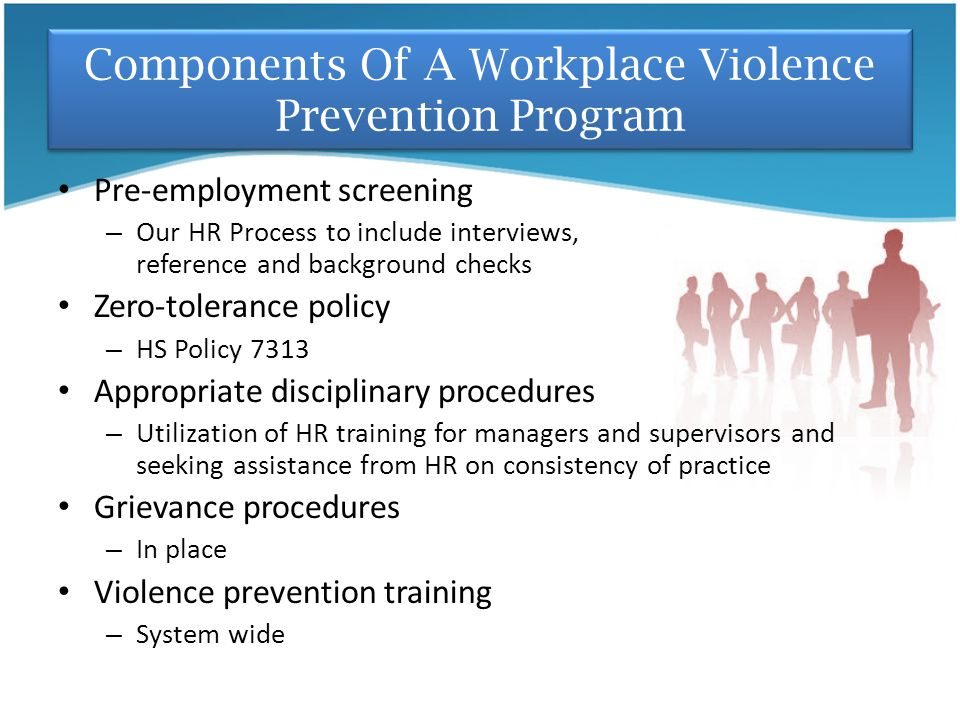 Components Of A Workplace Violence Prevention Program