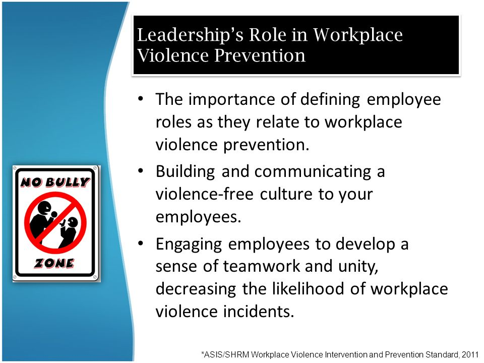 Leadership's Role in Workplace Violence Prevention