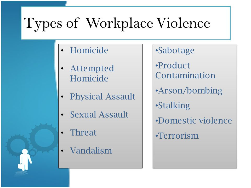 Types of Workplace Violence