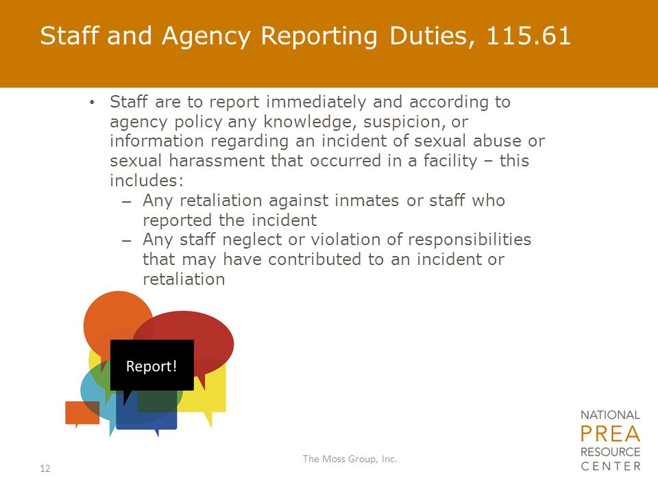 Staff and Agency Reporting Duties, 115.61