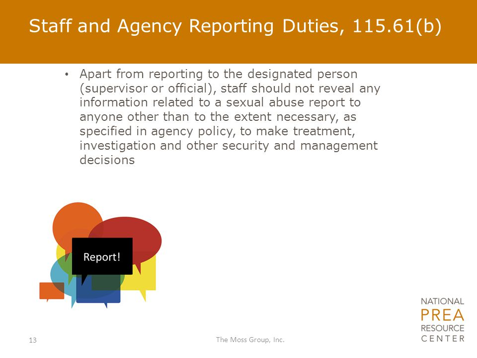 Staff and Agency Reporting Duties, 115.61(b)