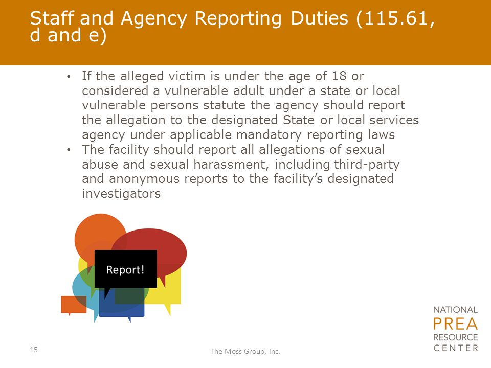 Staff and Agency Reporting Duties (115.61, d and e)
