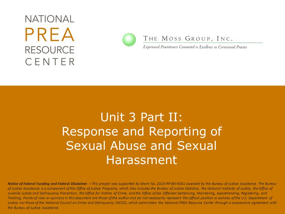 Unit 3 Part II: Response and Reporting of Sexual Abuse and Sexual Harassment
