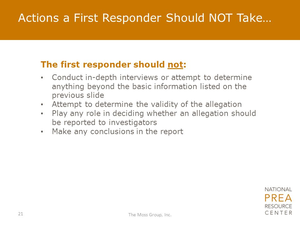 Actions a First Responder Should NOT Take…