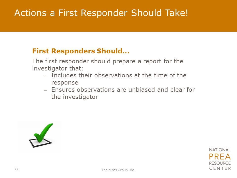 Actions a First Responder Should Take!