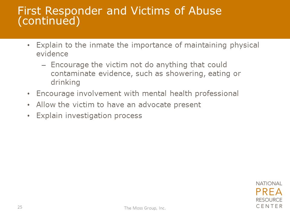 First Responder and Victims of Abuse (continued)