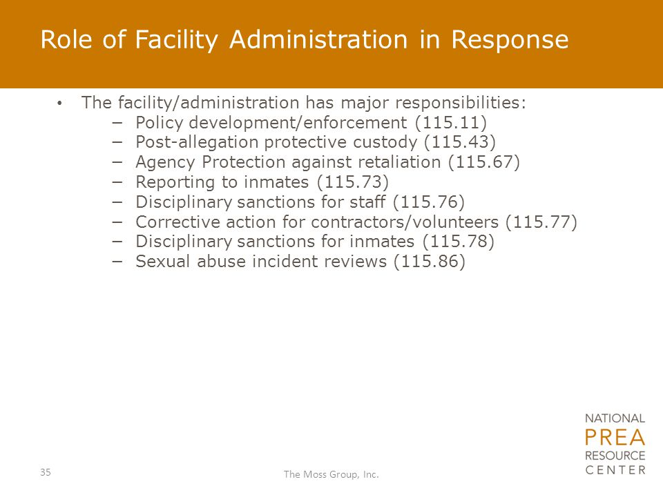 Role of Facility Administration in Response