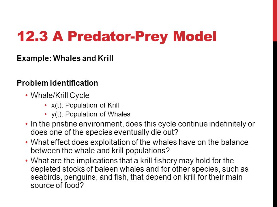 12.3 A Predator-Prey Model Example: Whales and Krill