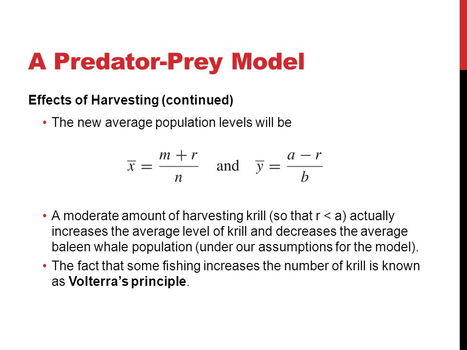A Predator-Prey Model Effects of Harvesting (continued)