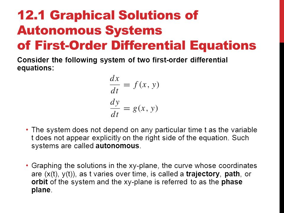 12.1 Graphical Solutions of Autonomous Systems of First-Order Differential Equations