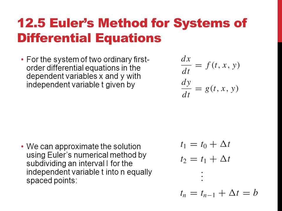 12.5 Euler's Method for Systems of Differential Equations