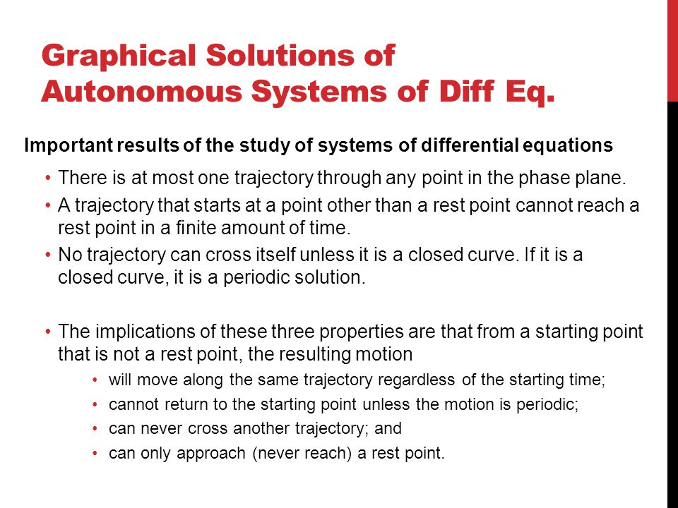 Graphical Solutions of Autonomous Systems of Diff Eq.