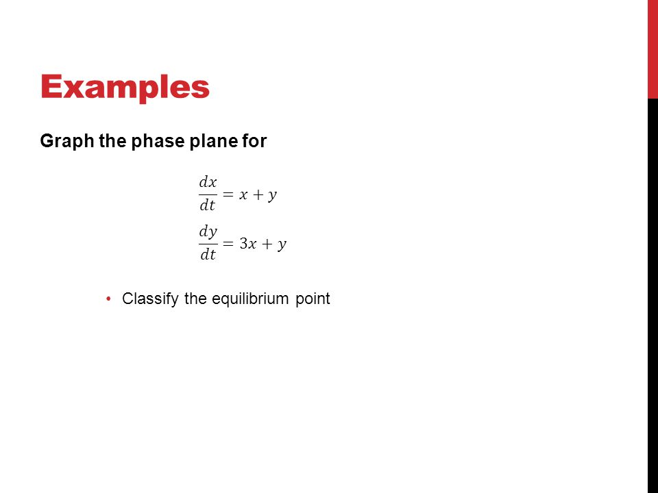Examples Graph the phase plane for 𝑑𝑥 𝑑𝑡 =𝑥+𝑦