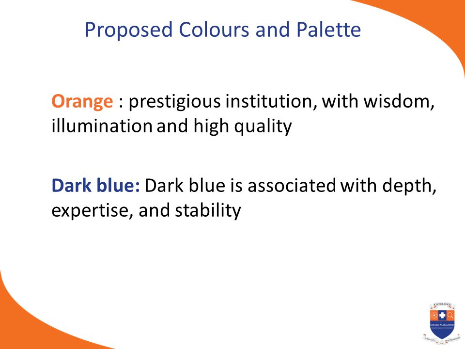 Proposed Colours and Palette