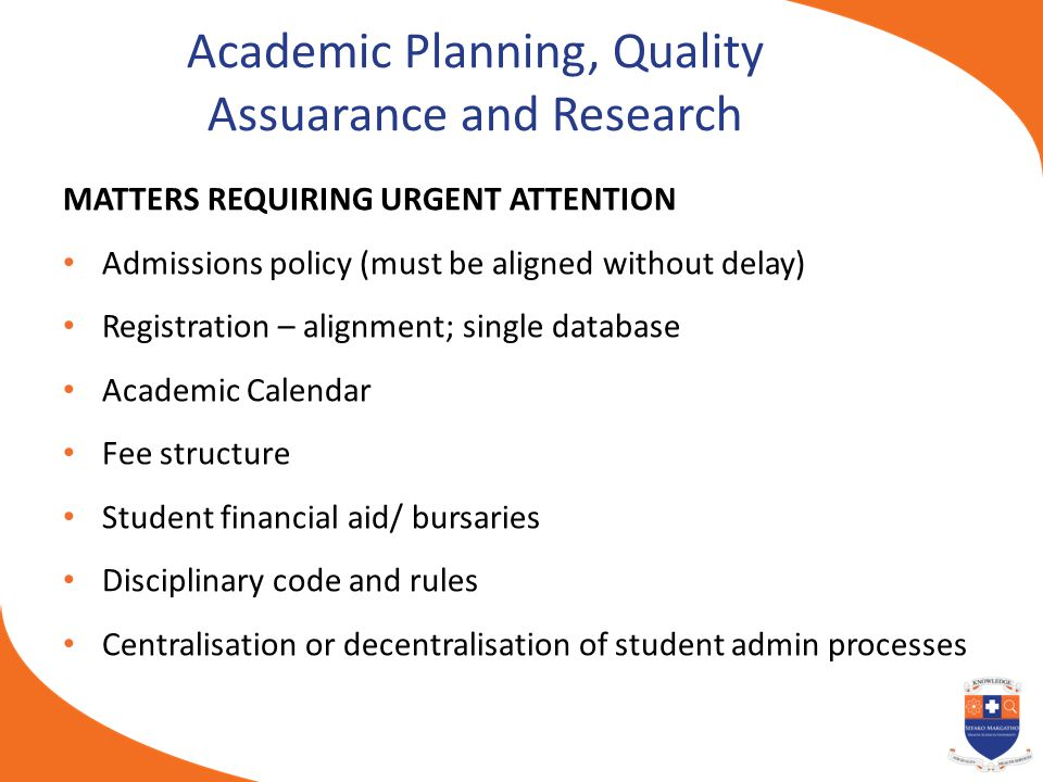 Academic Planning, Quality Assuarance and Research