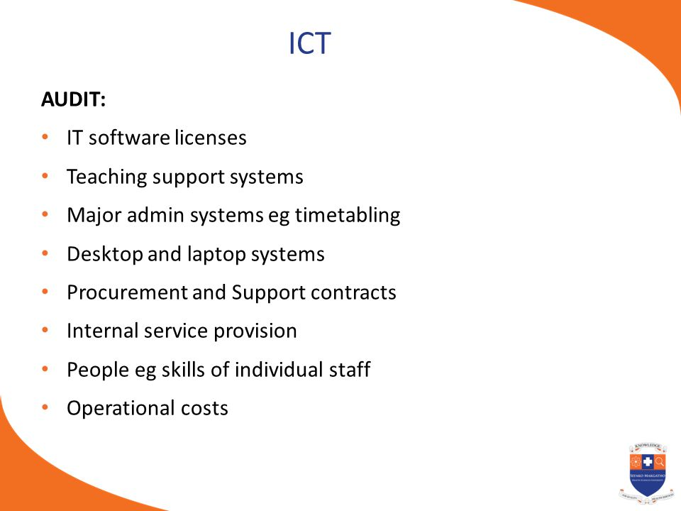ICT AUDIT: IT software licenses Teaching support systems