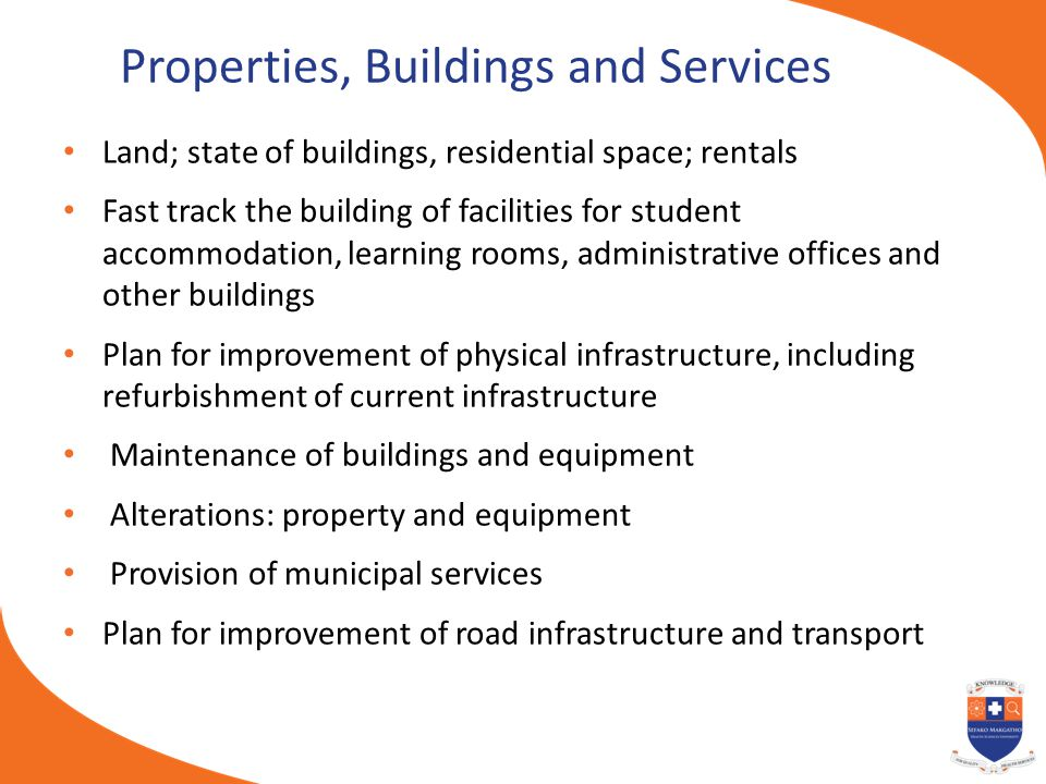 Properties, Buildings and Services