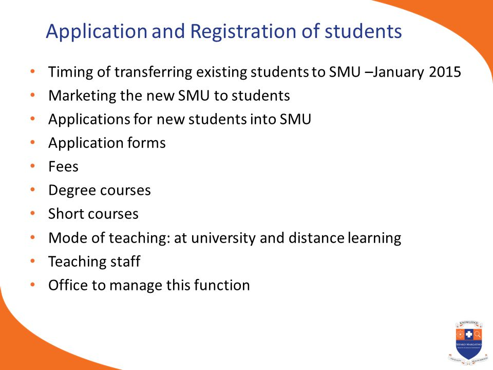 Application and Registration of students