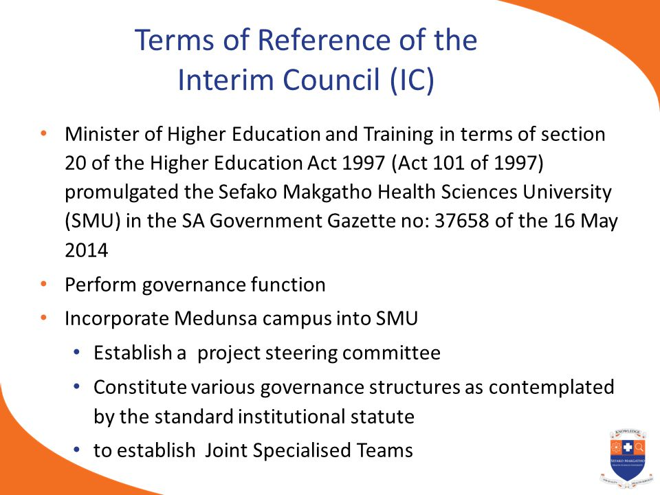 Terms of Reference of the Interim Council (IC)
