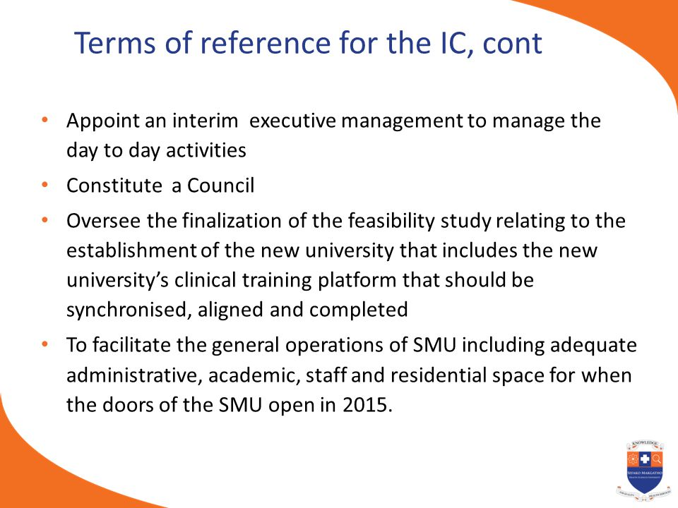 Terms of reference for the IC, cont