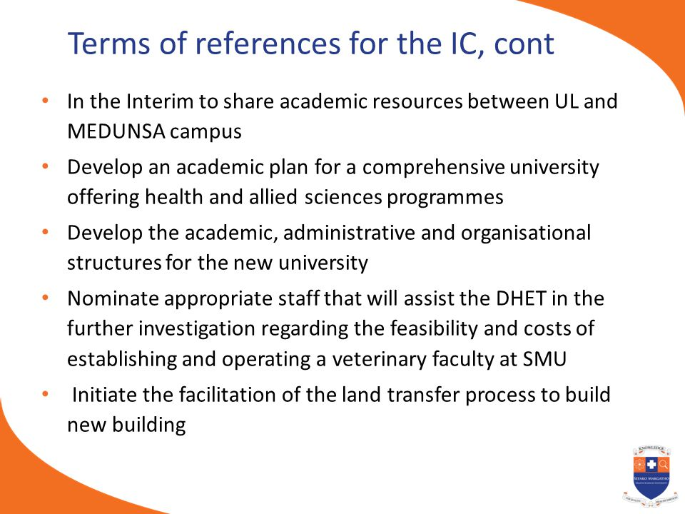 Terms of references for the IC, cont