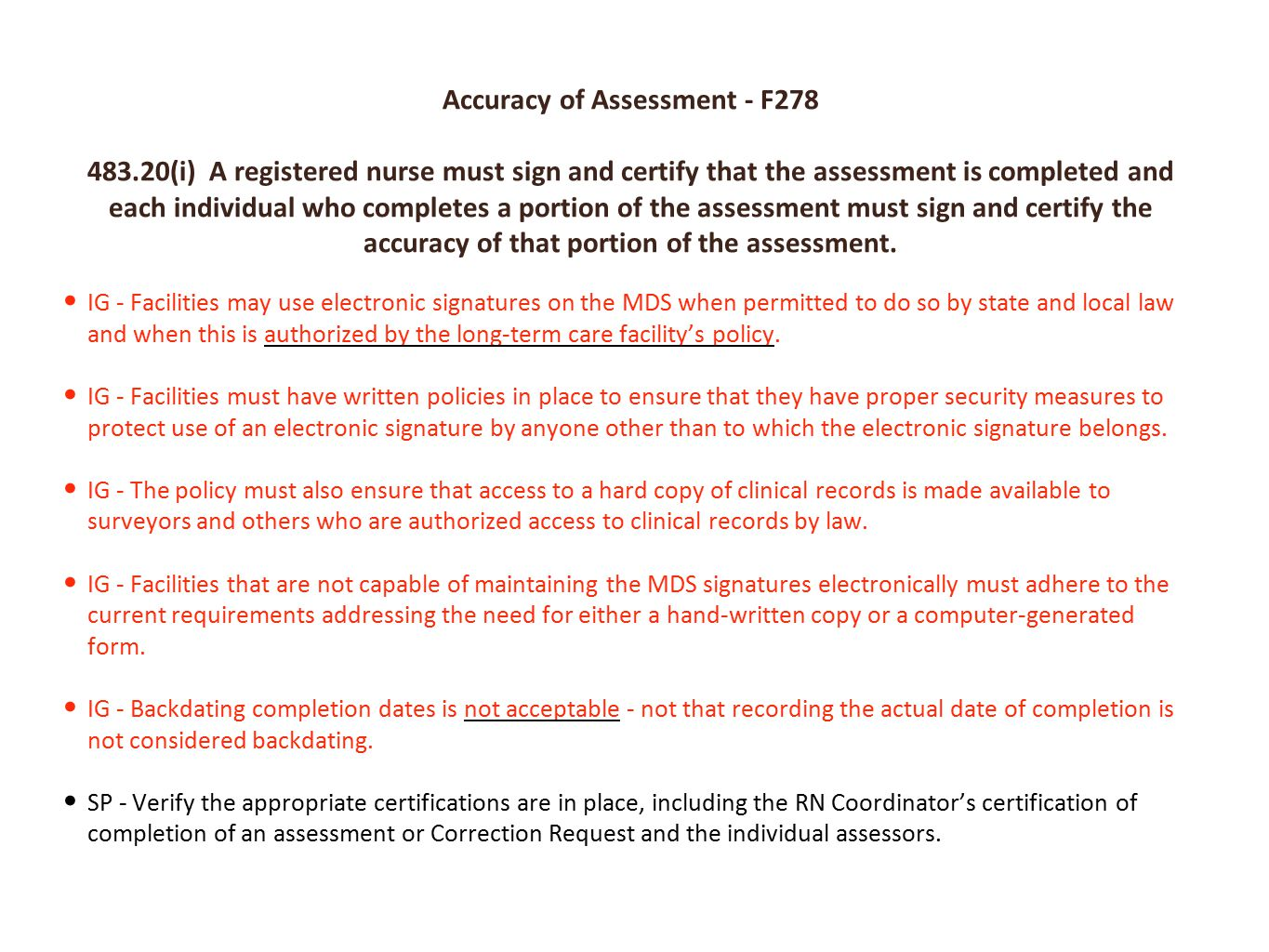 Accuracy of Assessment - F278
