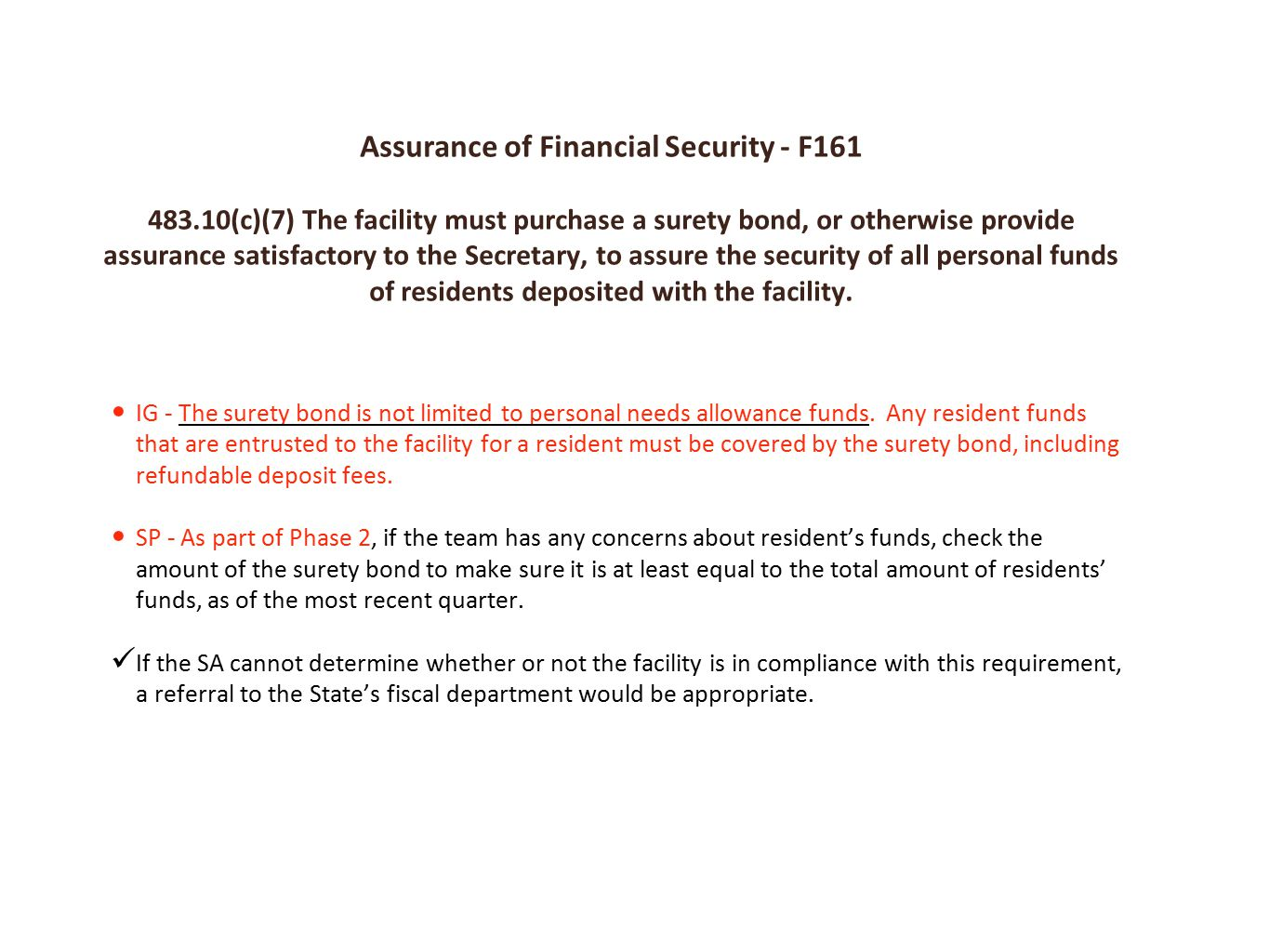Assurance of Financial Security - F161