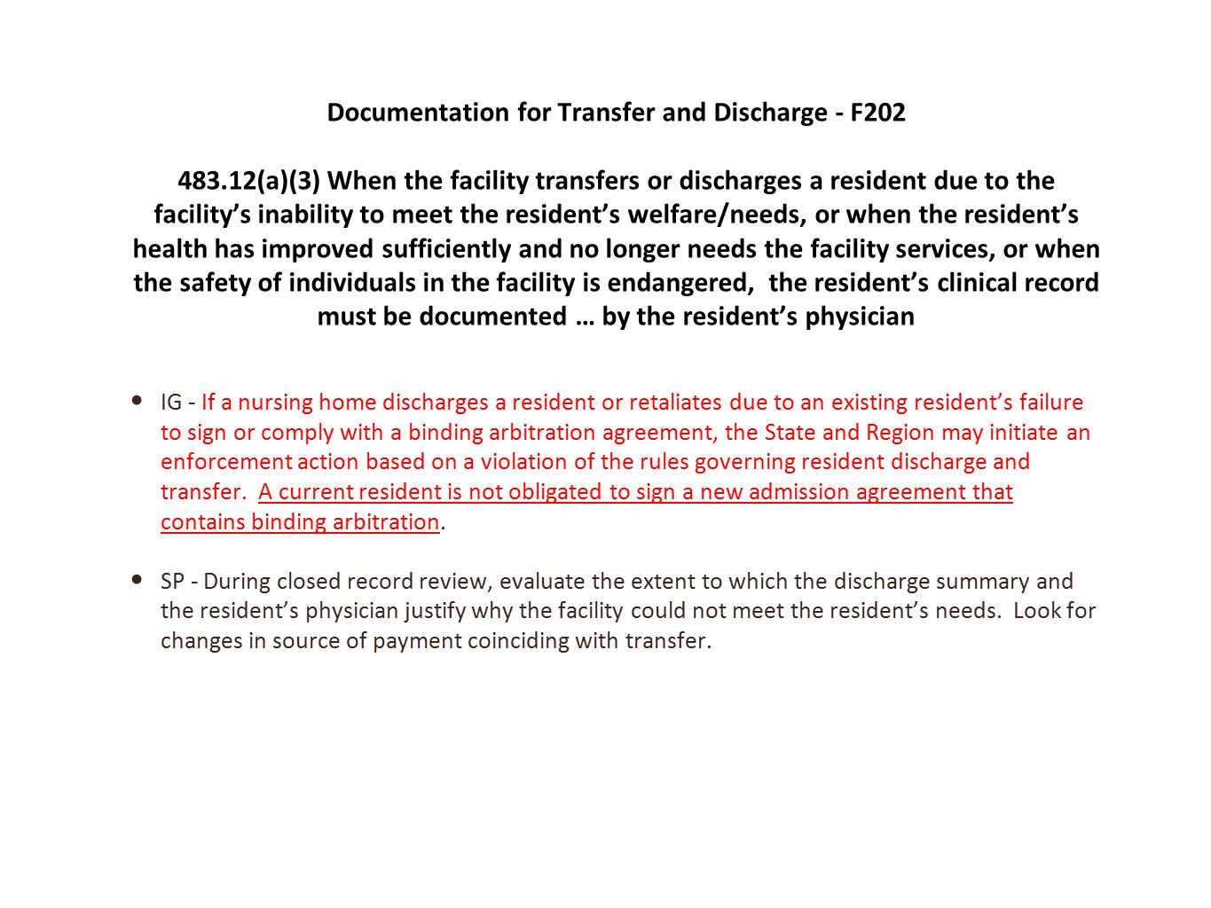 Documentation for Transfer and Discharge - F202
