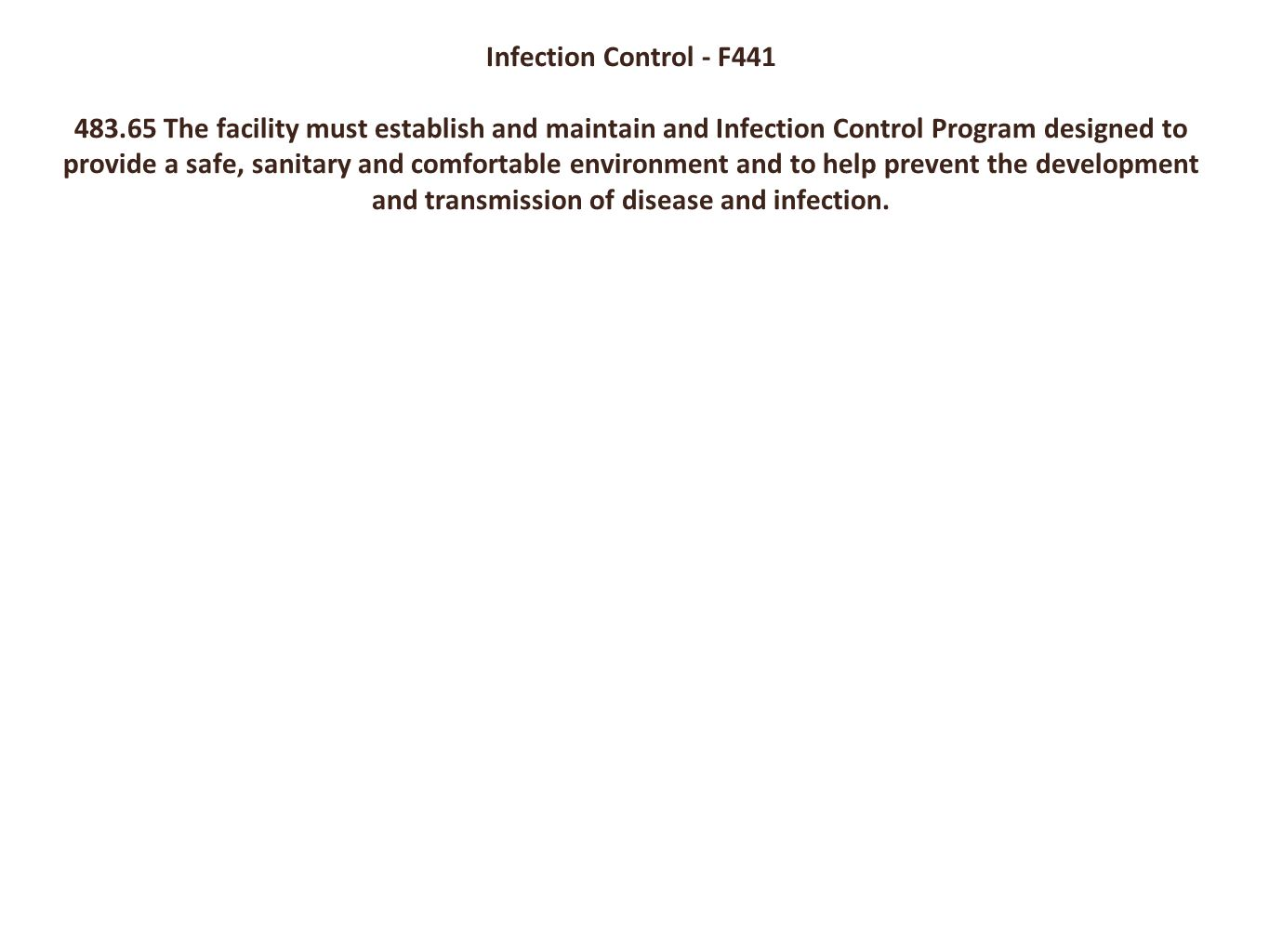 Infection Control - F441