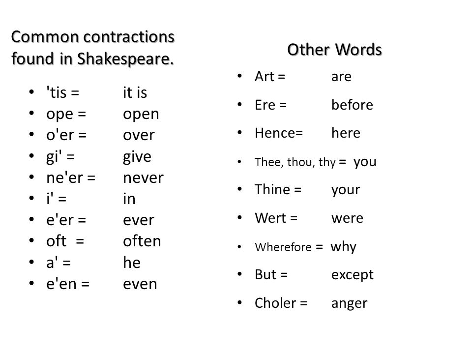 Common contractions found in Shakespeare.