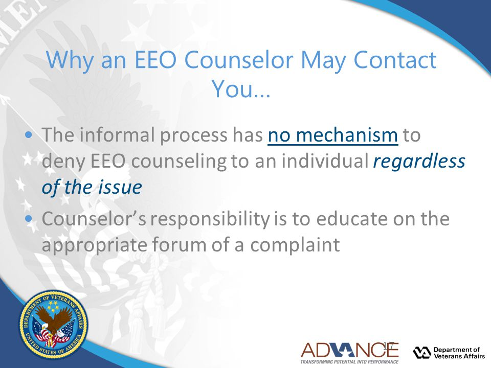 Why an EEO Counselor May Contact You…